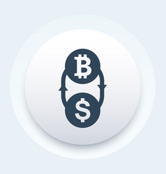 bitcoin to dollar exchange icon vector image vector image