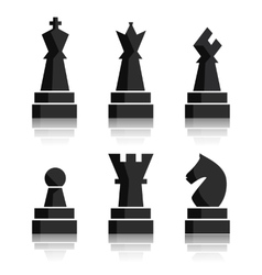 Black chess icons set Chess board figures vector image vector image