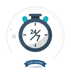 call center clock time service vector image vector image