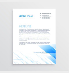 clean minimal letterhead design with blue shape vector image