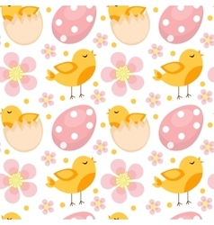 Cute easter seamless pattern with birds and eggs vector