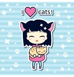 Cute girl holding small cat vector