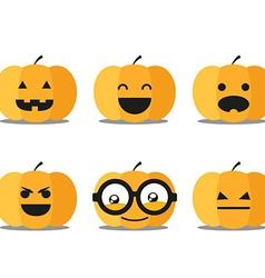 Different helloween pumpkin faces clip-art vector image vector image