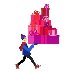 guy buying presents for Valentine Day vector image