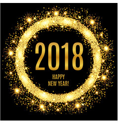 Happy new year glowing gold background vector
