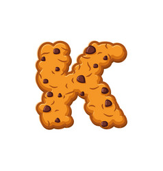 K letter cookies cookie font oatmeal biscuit vector