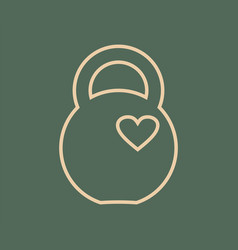 kettlebell icon with heart vector image vector image