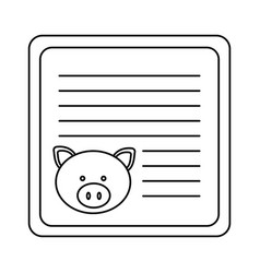 Monochrome card with male pig head vector