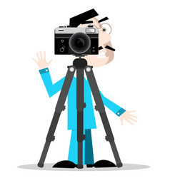 Photographer with camera on tripod isolated on vector