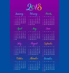 plain wall calendar 2018 year lettering flat vector image