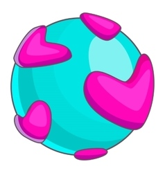 Planet with pink hearts icon cartoon style vector