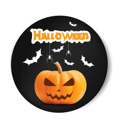 pumpkin smiling halloween black sticker vector image vector image