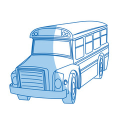 School bus transport truck vehicle cartoon vector