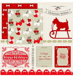 Scrapbook Design Elements - Vintage Christmas Dog vector image