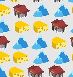 Seamless pattern of switzerland bank and cheese vector