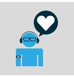 Silhouette wearable technology love heart vector