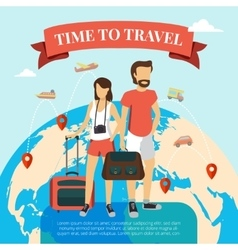 Time to travel flat vector
