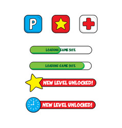 Video game asset menu icon button layer art vector