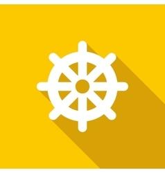 Wheel of dharma icon flat style vector