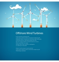 Wind Turbines at Sea Poster Brochure Design vector image vector image