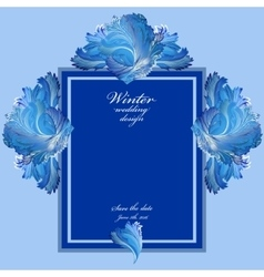 Winter frozen glass background Blue wedding frame vector image vector image