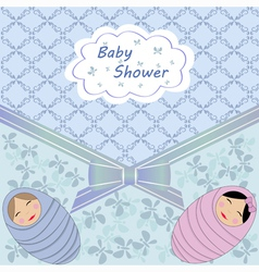 Blue baby shower with two child vector