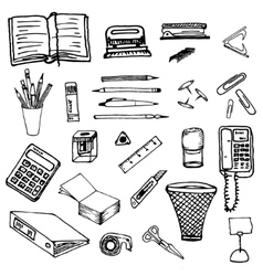Black and white background- office stationery vector