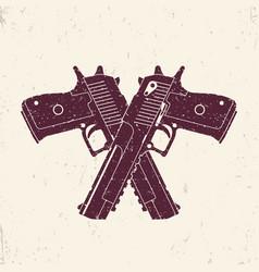 Crossed powerful pistols two handguns vector