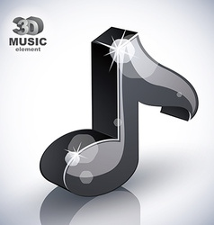 Black musical note icon isolated vector