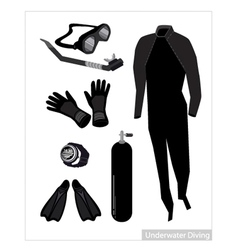 Set of scuba diving equipment on white background vector