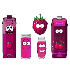Raspberry fresh fruit and juice vector