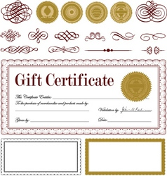 vector burgundy certificate frame set vector image