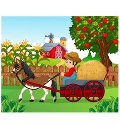 Cartoon farmer with hay cart vector