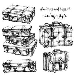 Suitcases and bags icon set hand drawn in vintage vector