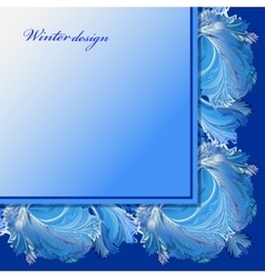 Winter frozen glass background blue wedding frame vector