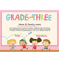Certificate for grade three students vector