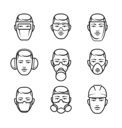 Occupational safety icons vector