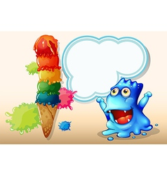 A happy blue monster beside the huge icecream vector image vector image