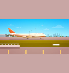 airport terminal with aircraft flying plane taking vector image