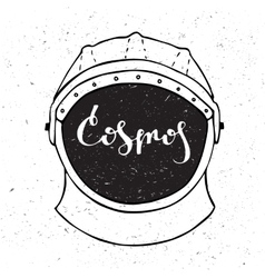 Astronaut helmet with inscription cosmos in the vector
