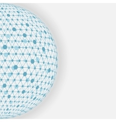 blue sphere network white background vector image vector image