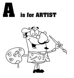 Cartoon artist with letter vector