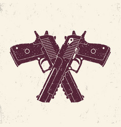 Crossed powerful pistols two handguns vector