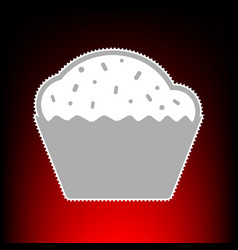 Cupcake sign postage stamp or old photo style on vector