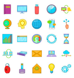 Data request icons set cartoon style vector