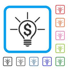 financial idea bulb framed icon vector image vector image