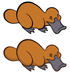Funny smiling cartoon platypus vector
