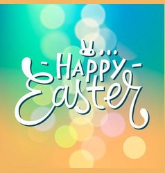 Happy easter typographical blurred background vector