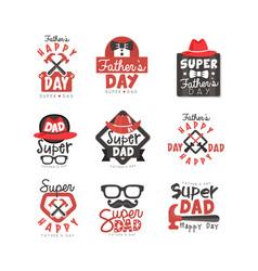Happy fathers day logo set super dad vector