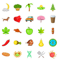 Holiday camp icons set cartoon style vector